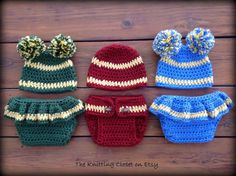 Crochet Diaper Cover and Hat Pattern Football, Cheerleading, Baseball, Hockey, Soccer. Your newborn will show their team spirit! Super easy and fast to crochet! Detailed instructions and pictures included in the pattern. Instantly download the PDF file. Many more baby patterns the The Knitting Closet on Etsy!