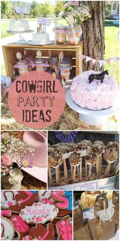 A shabby chic meets cowgirl birthday party!  There is burlap, mason jars, sack races and horseback riding! See more party planning ideas at CatchMyParty.com!