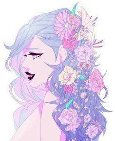 Gwen wearing Sage's flowers in her hair