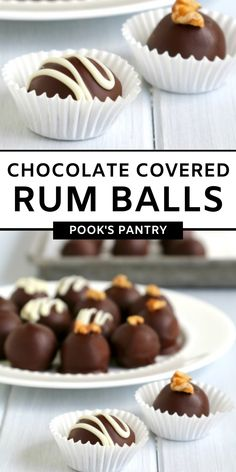 Chocolate covered rum balls are a sweet, boozy grownup treat. Made with dark rum and dark chocolate, they make a great addition to your dessert table. #rumballs #chocolaterumballs #chocolatecoveredrumballs #boozytreats Easy Desserts, Dessert Recipes, How To Temper Chocolate, Christmas Desserts, Christmas Cookies, Best Chocolate Desserts, Rum Balls, Rum Cake, Easy Baking Recipes