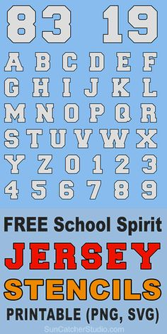 FREE printable JERSEY numbers, letters, and alphabet stencils for athletic sports, uniforms, and high school spirit. Number Fonts Free, Free Sports Fonts, Baseball Font, Football Sayings, Athletic Fonts, Jersey Font, School Fonts, Printable Numbers, Free Printable
