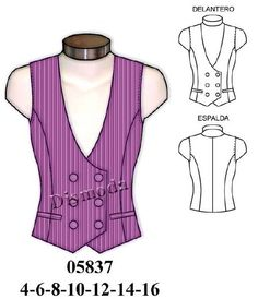 patron chaleco mujer - Buscar con Google Fashion 2017, Diy Fashion, Waistcoat Designs, Making Shirts, Couture, Quinceanera Dresses, Diy Clothes, Fabric Design, Athletic Tank Tops