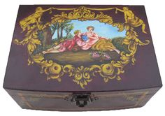 Wooden boxwith a mirror.Threecompartments. Hand painted  Available at www.romanticdecorativeart.co.uk