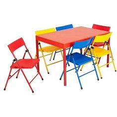 Safety 1st - Children's 7-Piece Folding Table and Chairs Set, Red
