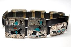 Vintage Navajo Silver Turquoise Inlay Concho Storyteller Belt Benjamin Becenti | eBay