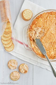 BBQ Chicken Dip - Taste and Tell 8 oz cream cheese, softened 1/2 cup ranch dressing 1/2 cup bbq sauce 1/2 cup shredded monterey jack cheese 2 cans (12.5 oz each) Swanson® Premium Chunk Chicken Breast in Water, drained crackers, for serving combine, bake