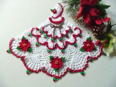 Newly Made, Miss Christmas Crinoline Lady Doily with Beads
