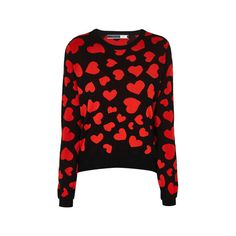 Sportmax Code Girone Heart Sweater (€205) ❤ liked on Polyvore featuring tops, sweaters, black, cotton crop top, black top, black heart sweater, long sleeve tops and pattern sweater