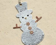 Snowman ornament for Christmas not engraved but hand stamped and personalized Item D-1