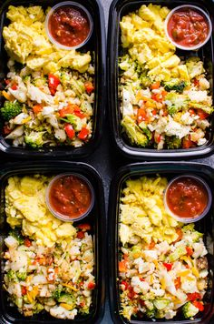 Healthy Dinner Recipes Discover Healthy Breakfast Meal Prep (Video) - iFOODreal Healthy Breakfast Meal Prep with broccoli cauliflower bell pepper eggs salsa and whole grain toast for protein packed and veggie loaded breakfast on the go. Healthy Breakfast Meal Prep, Paleo Meal Prep, Healthy Family Meals, Health Breakfast, Paleo Dinner, Healthy Dinner Recipes, Paleo Recipes, Healthy Snacks, Healthy Eating