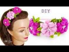 Ободок с Цветами Канзаши, МК / DIY Kanzashi Headband / DIY Hairband with Flowers - YouTube