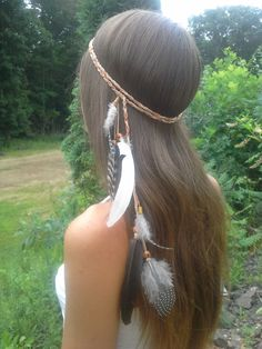 Elegant, Native American, Feather HeadBand, hippie wedding, Boho, Bohemian, Braided, Suede, Wooden, Wood, Beads, Tribal, feather, head band by dieselboutique on Etsy