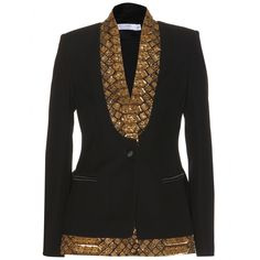 Altuzarra channel statement attire with this intricately embellished blazer. The black base is delicately adorned with a generous sampling of gold-toned sequins and beads, catching the light and sparkling softly as you move.