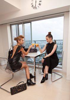 Ladies who lunch! Take our VCD products wherever you go! Off out for cocktails with the girls or just coffee at home with your bestie! #fashion #models #coffee #women #bags #clutch #shoes