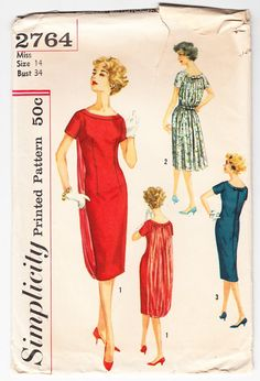 Vintage 1958 Simplicity 2764 Sewing Pattern by SewUniqueClassique, $20.00