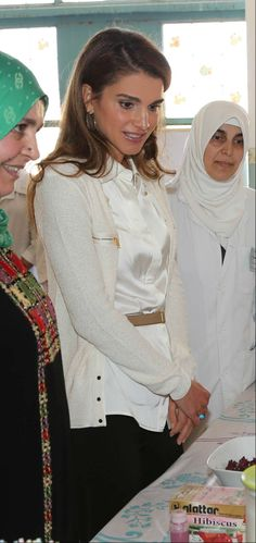 Her Majesty Queen Rania Al Abdullah attends part of a health open-day held by the Royal Health Awareness Society (RHAS) at Khadeeja Um Il Mo'mineen School for Girls in Irbid. Irbid, Jordan/ September 16, 2013