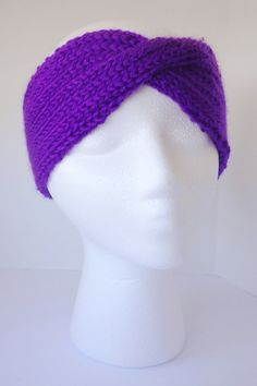 Turban earwarmer, turben headband, purple earwarmer