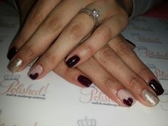 Winter nails... burgandy, gold and nude.
