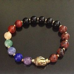 The 7 Chakra gemstone Yoga bracelet is said to help balance the Chakras and aid in meditation. Chakra bracelets are designed with gemstones that are thought to correspond to each of the seven main cha