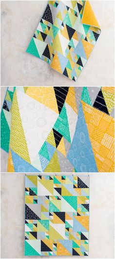 Triangles at Play Modern Hand Drawn Landscape Quilt Kitby Sarah Ruiz   featuring Lily & Loom Fabrics.   Modern half square triangle quilt   kit and quilt pattern.  Affiliate link.