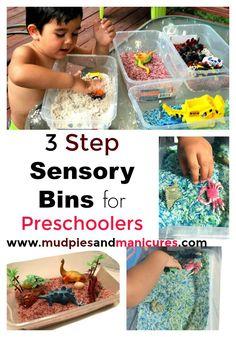Sensory Play: 3 Step Sensory Bins for Preschoolers - Mudpies and Manis Sensory Diet, Baby Sensory, Sensory Activities, Infant Activities, Sensory Play, Activities For Kids, Multi Sensory, Toddler Fun, Toddler Preschool