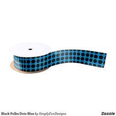 Black Polka Dots Blue Satin Ribbon