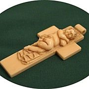 A Rare Dieppe Ivory Carving of an Infant Asleep on a Cross Pendant Cross Pendant, Infant, Ivory, Carving, Antiques, Vintage, Art, Antiquities, Art Background