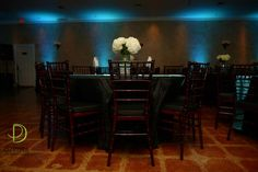 blue up-lighting and color washing at The Northeast Wedding Chapel  www.WaltersWeddingEstates.com