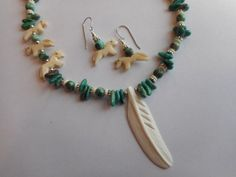 Turquoise Necklace with Bone Horses and Feather Pendant, Earrings