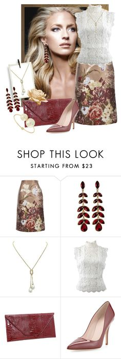 """""""Valentino Jaquard"""" by shoppe23 ❤ liked on Polyvore featuring Valentino, Oscar de la Renta, Kate Spade, valentino, Floralskirts and Shoppe23"""