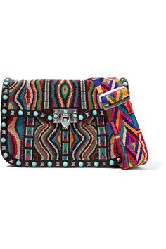 Valentino The Rockstud embellished textured-leather shoulder bag