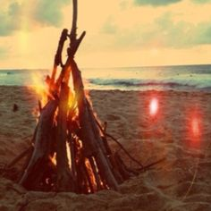 Unforgettable summer nights on the beach with bonfire and friends.