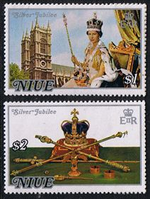 1977 Niue Royal Silver Jubilee Set Fine Mint SG 213 4 Scott 194 5 Other European and British Commonwealth Stamps HERE!