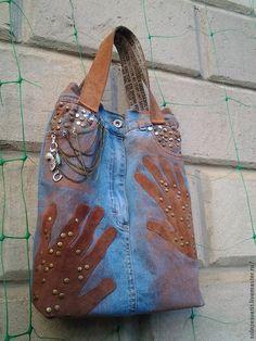 """Купить Сумка джинсовая """"Замшевые ладошки"""" - рисунок, ладошка, руки, ручная работа, сумка для девушки"""