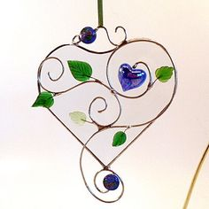 Clear Stained Glass Bevel Heart With Blue by LyonsCreations, $35.00