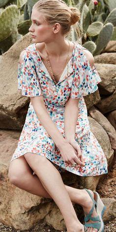 Fluttered Watercolor Dress