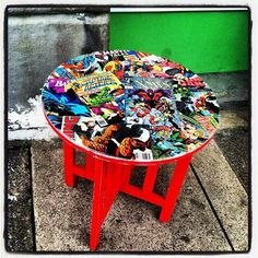 comic book table | Revintaged Comic Book Side Table | Creative Decor by Cre8