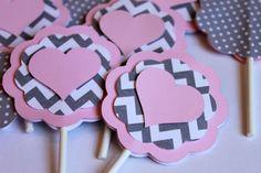 Heart Light Baby Pink Gray Chevron Stripe Polka Dot CUPCAKE TOPPERS Girl Shower Shabby Chic Elephant Birthday Party Wedding Love Valentine on Etsy, $17.00