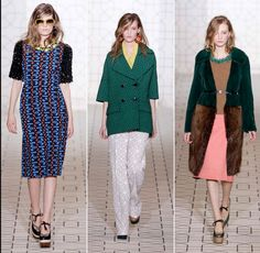 Consuelo Castiglioni created these garments with the 1970s in mind. The patterns of the dress, the color blocking and colors used for the coat outfit, and the loose fitting pant and coat outfit in the middle depict this perfectly. He also used shapes that were loose fitting in the dresses and fur coat.