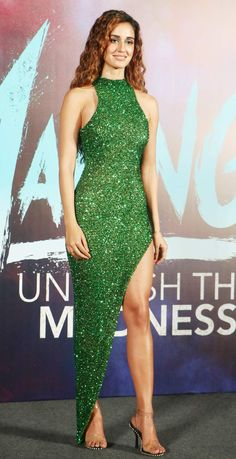 Disha Patani looked stunning in her shimmer thigh-high slit green bodycon dress for the trailer launch of Malang Most Beautiful Bollywood Actress, Bollywood Actress Hot Photos, Indian Bollywood Actress, Bollywood Girls, Beautiful Indian Actress, Bollywood Fashion, Indian Actresses, Actress Pics, Indian Celebrities