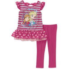 Frozen Toddler Girl Ruffle Tunic and Legging 2-Piece Set Walmart $12