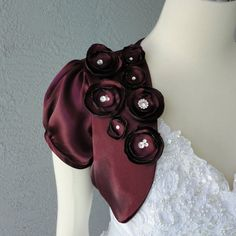 Wedding Bridal Aubergine Satin Bolero Shrug by Chuletindesigns, $60.00