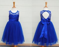 Lace flower girl dress, royal blue lace dress, tulle flower girl dress, backless flower girl dress, short blue dress, royal blue lace dress by YouthStudio on Etsy https://www.etsy.com/listing/238518562/lace-flower-girl-dress-royal-blue-lace
