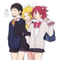 Lol. Are they crossdressing?Hanta, Denki and Eijirou  || Boku no Hero Academia
