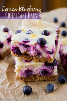 Creamy Lemon Blueberry Cheesecake Bars. So simple to make! sallysbakingaddiction.com-6