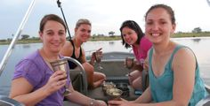 Tracy, Ashley, Shelley and Carlien enjoying sundowners on a boat trip in the Selinda Spillway. African Vacation, African Safari, Africa Travel, Tent Camping, How To Know, Lodges, Best Hotels, Where To Go, Boat