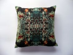 """18"""" digitally printed cushion cover with zip- orange and blue urban decay abstract rust pattern, mirrored pattern"""