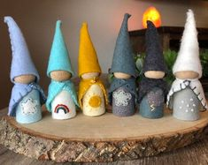 Walorf Inspired set of Weather Pocket Gnomes -Homeschool Weather Chart Gnome Wood Peg Dolls, Wood Toys, Butterfly Fairy, Needle Felted, Wooden Pegs, Waldorf Dolls, Felt Toys, Wool Felt, The Dreamers