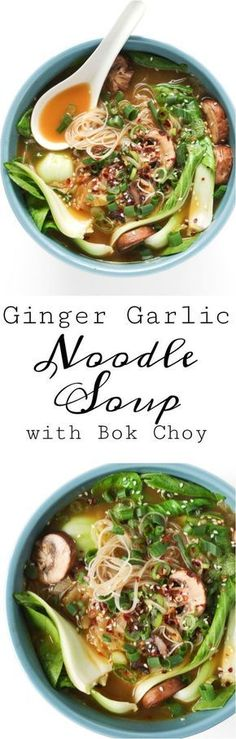 GINGER GARLIC NOODLE SOUP WITH BOK CHOY is a nutritious, comforting, and flu-fighting twenty-minute recipe made with homemade vegetarian broth, noodles, mushrooms, and baby bok choy. Easily make it your own by adding chicken, shrimp, spicy chilis, or other veggies.