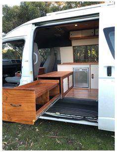 Toyota Hiace Campervan, Delica Van, Nissan Vans, Van Conversion Interior, Van Conversion Kitchen, Conversion Van, Small Camper Vans, Camper Van Kitchen, Minivan Camper Conversion